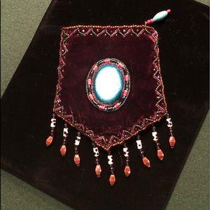 Handbags - Mini Velvet Jewelry Bag with Beads and Stones